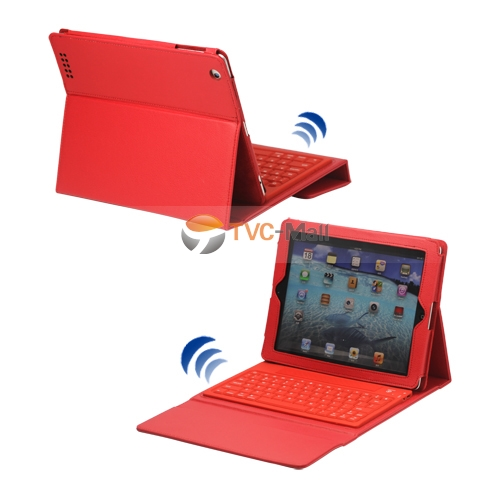 2 in 1 Bluetooth Keyboard and Leather Case for New iPad 2nd 3rd 4th Gen - Red