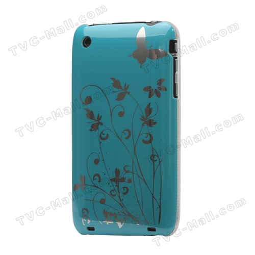 Floral Butterfly Hard Case for iPhone 3G 3GS - Blue