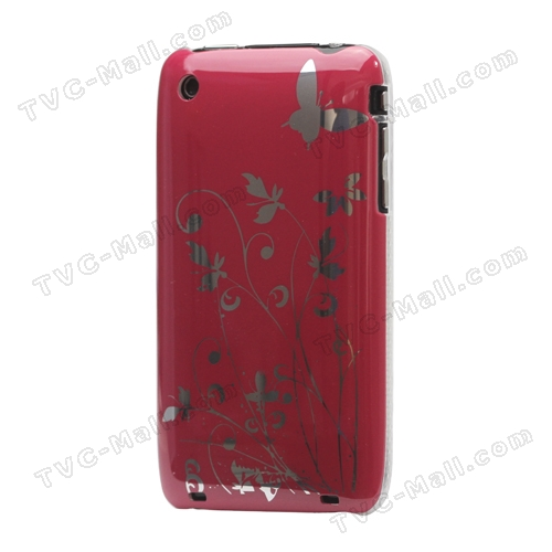 Floral Butterfly Hard Case for iPhone 3G 3GS - Red
