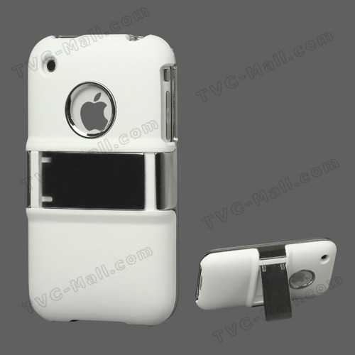 Snap-on Electroplating Hard Plastic Case with Stand for iPhone 3G/3GS - White