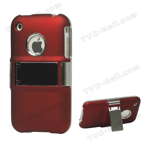 Snap-on Electroplating Hard Plastic Case with Stand for iPhone 3G/3GS - Red