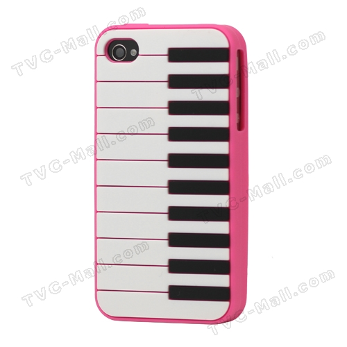 Stylish Piano Silicone Skin Case Cover for iPhone 4 4S - Rose
