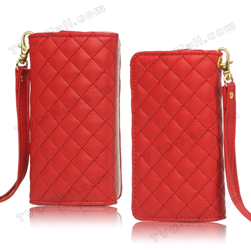 Grid Leather Case Cover for iPhone 4S 4 HTC One V Samsung S5690 Galaxy Xcover - Red