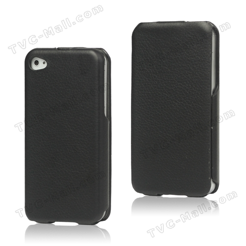 Slim Leather Case Cover for iPhone 4 4S - Black