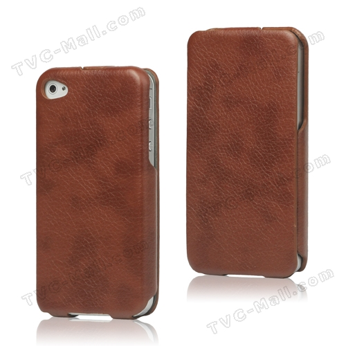 Slim Leather Case Cover for iPhone 4 4S - Coffee