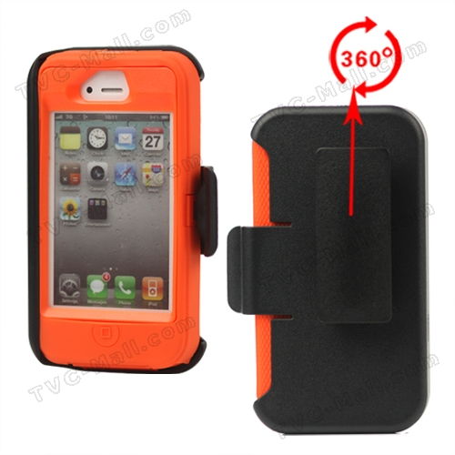 Superior Defender Case Cover for iPhone 4 4S with Belt Clip Holster - Orange