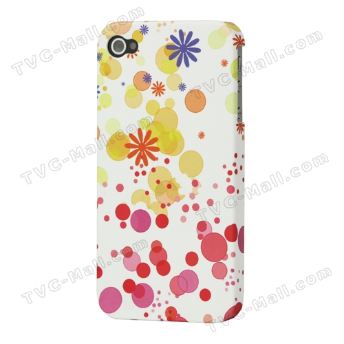 Flowers Circle Frosted Hard Plastic Case for iPhone 4 4S