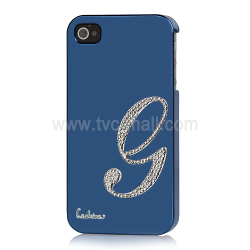 Eileen Lowercase G-Lime Series Electroplating Diamante Case for iPhone 4 4S - Capri Blue