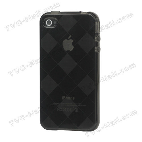 Clear Grid TPU Gel Case for iPhone 4 4S - Grey