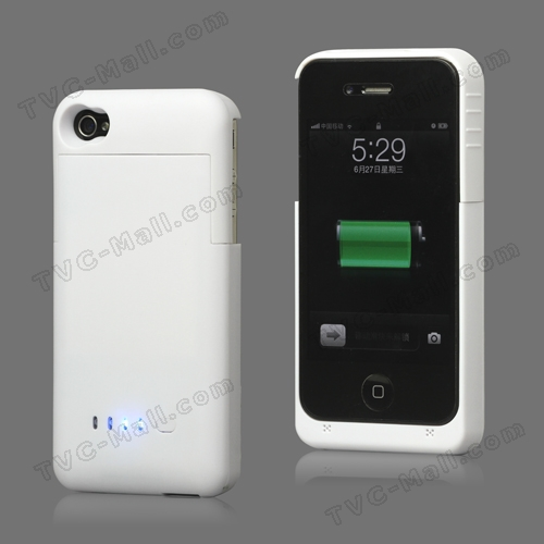 Detachable External Battery Case Charger for iPhone 4S 4 1900mAh Crystal Box - White