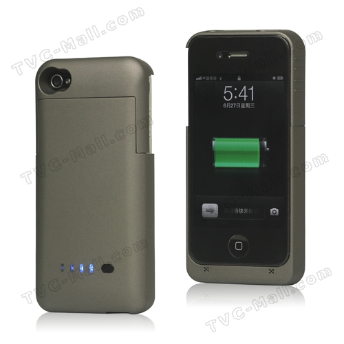 Detachable External Battery Case Power Bank for iPhone 4S 4 1900mAh Crystal Box - Brown