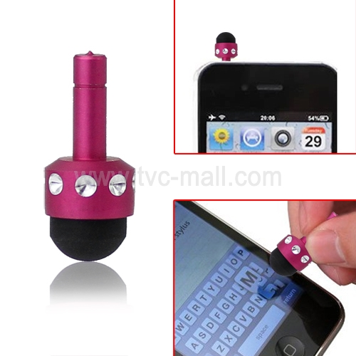 Smallest 3.5mm Plug Shiny Soft Touch Stylus Pen for Capacitive Touchscreen - Rose