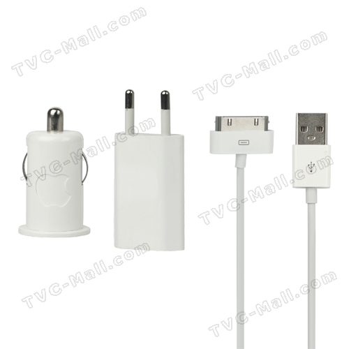 Original Car Home USB Charger Kit for Apple iPhone 4S 4 3GS 3G iPod - EU Plug