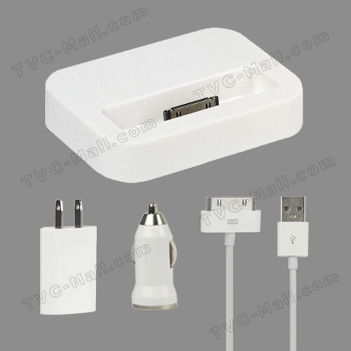 4 in 1 Charger Kit for iPhone 4S 4 3GS 3G (Car Charger + US Plug Wall Charger + Dock Cradle + Cable)