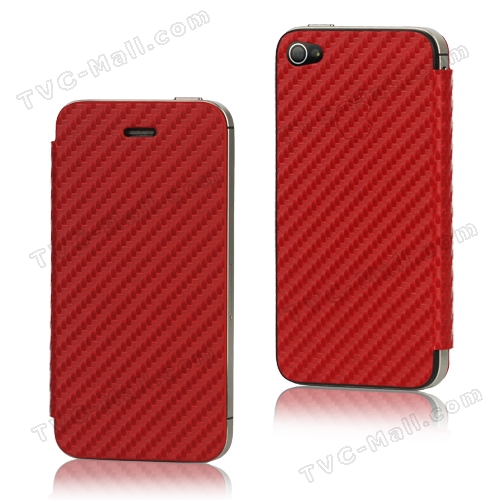 Leather Skin Carbon Fiber Housing with Front Cover for iPhone 4S - Red
