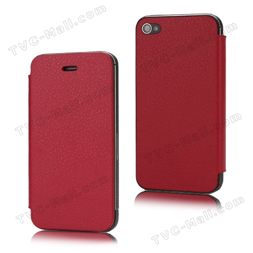 Leather Skin iPhone 4S Housing with Front Protective Cover (Free Pentalobe Pentacle Screwdriver) - Red