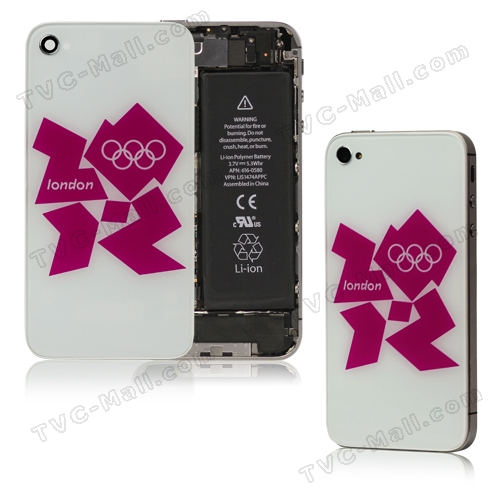 London 2012 Olympics iPhone 4S Back Cover Housing with 2 Screwdrivers - White