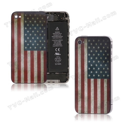 Retro American Flag Glass Back Cover Housing for iPhone 4S