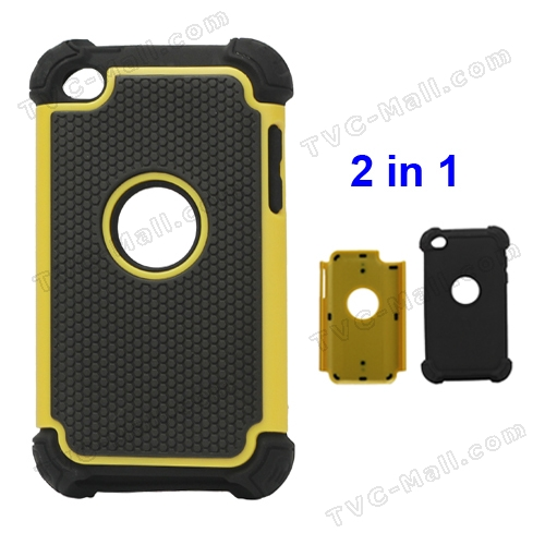 Textured Defender Case Cover for iPod Touch 4 - Black / Yellow