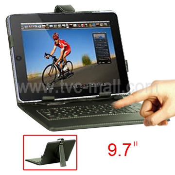 9.7 Inch Tablet PC Leather Keyboard Case with Holder &amp; USB Cable