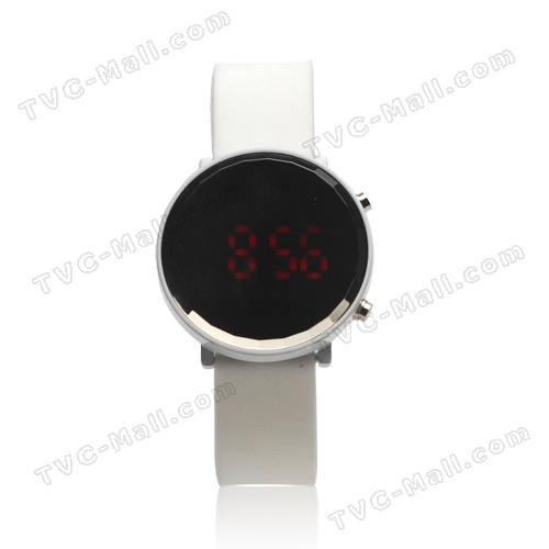 Trendy Mirror Round Boys Girls LED Digital Watch - White