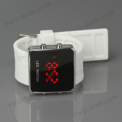 Hot Sports LED Watch with Silicone Band - White