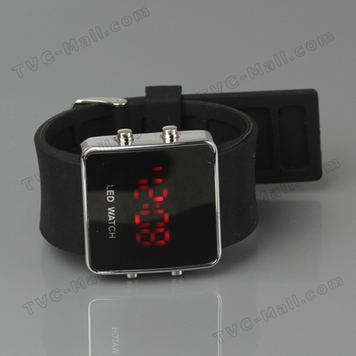 Hot Sports LED Watch with Silicone Band - Black