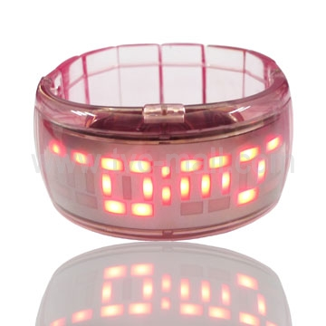 Stylish Red 28-LED Bracelet Watch -Light Pink