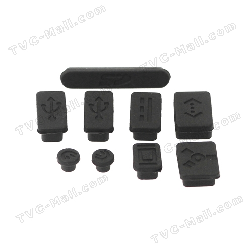 Silicone Anti-Dust Plug Cover Stopper for MacBook Pro 13 15 Air - Black