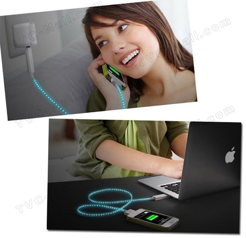 Flashing USB Sync Data Charging Cable for New iPad iPhone - Black