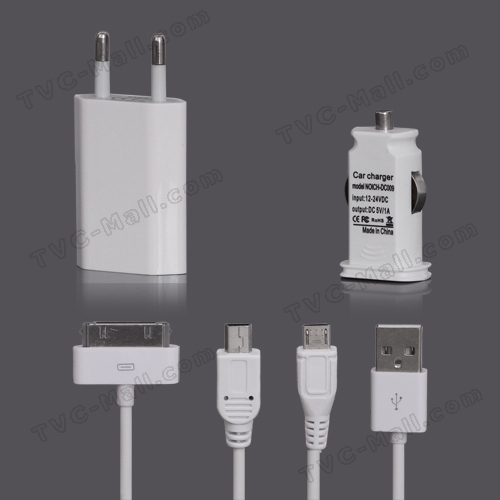 Travel Charger + Car Charger + 3 in 1 USB Cable for iPhone Samsung HTC ect - EU Plug