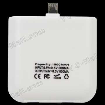 Portable 1900mAh Micro USB Mobile Charger for HTC / BlackBerry / Samsung / Motorola RAZR2 V8 etc