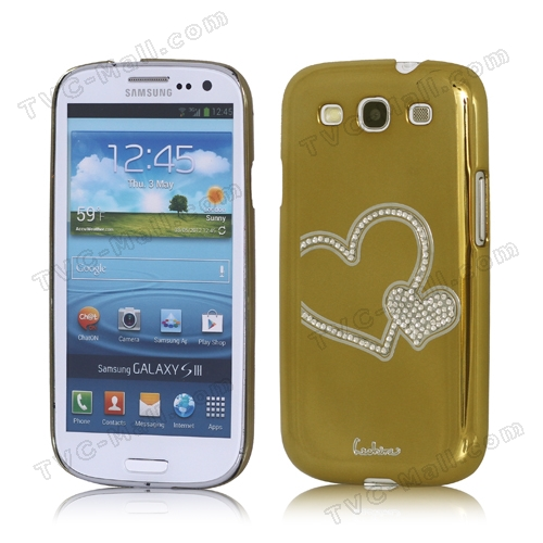 Eileen Heart Rhinestone Case for Samsung Galaxy S 3 / III I9300 I747 L710 T999 I535 R530 - Gold
