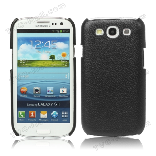 Lychee Leather Skin Hard Case for Samsung Galaxy S 3 / III I9300 - Black