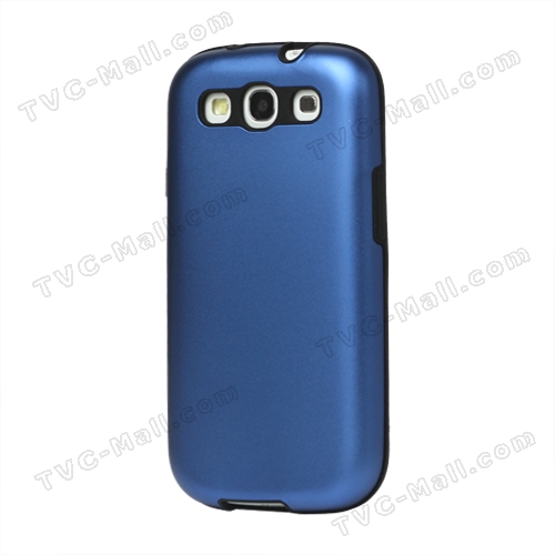 Aluminum Silicone Hybrid Case for Samsung Galaxy S 3 / III I9300 I747 L710 T999 I535 R530 - Dark Blue