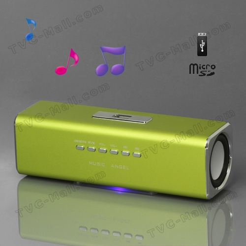 Music Angel USB Micro SD/TF Card Reader FM Radio Speaker for MP3 Mobile Phone PC - Green