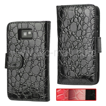 Wallet Style Croco Leather Case with Magnetic Flip for Samsung I9100 Galaxy S 2