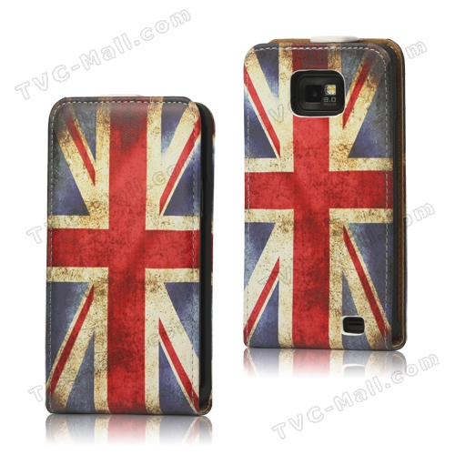 Retro Union Jack Flag Genuine Leather Case for Samsung I9100 Galaxy S2 / II
