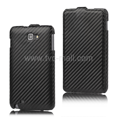 Carbon Fiber Vertical Leather Case for Samsung Galaxy Note I9220 GT-N7000 I717
