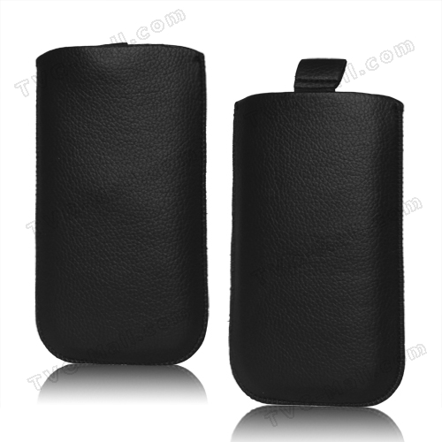Pull Up Tab Leather Pouch for Samsung Galaxy S 3 / III i9300 S 4 IV i9500 i9505 - Black
