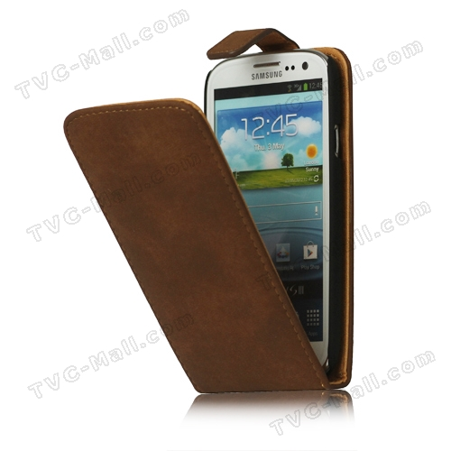 Antique Leather Flip Case for Samsung Galaxy S 3 / III I9300 I747 L710 T999 I535 R530 - Brown