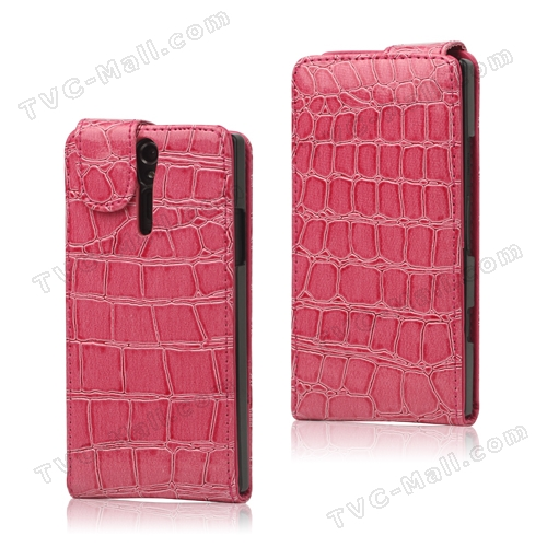 Crocodile Leather Flip Case for Sony Xperia S LT26i LT26a / Nozomi - Rose