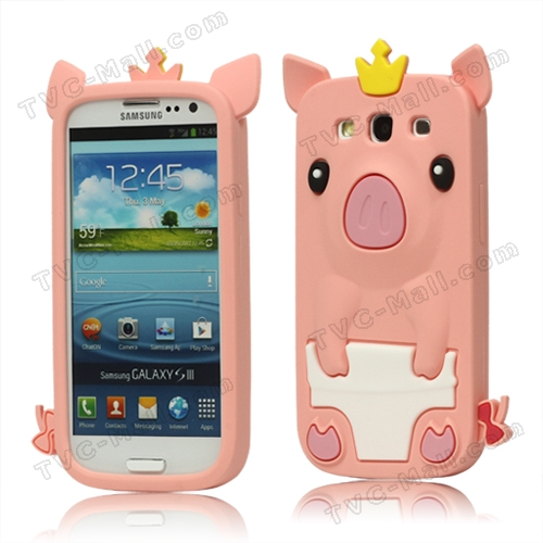 Cute Pig Silicone Back Case for Samsung Galaxy S 3 / III I9300 I747 L710 T999 I535 R530 - Pink