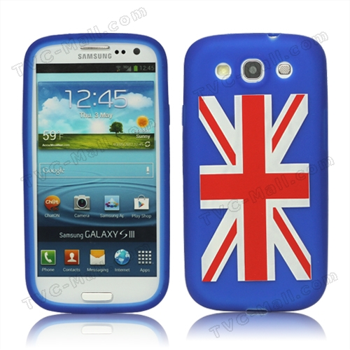 Union Jack Flag Silicone Case for Samsung Galaxy S 3 / III I9300 I747 L710 T999 I535 R530 - Blue