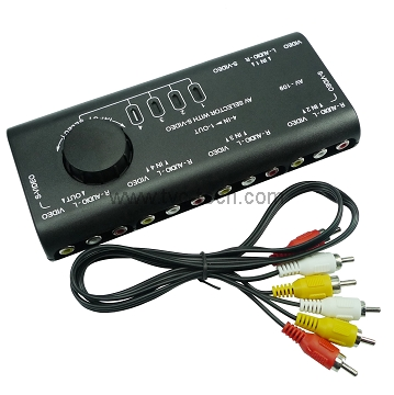 4 Input 1 Output Switch AV Audio Video Signal Switcher AV109