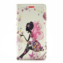 Rhinestones Leather Flip Case for Huawei Ascend P8 Lite - Pretty Girl with Wings and Butterflies