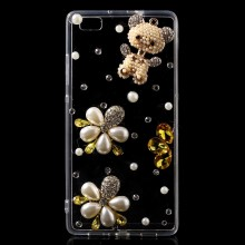 Rhinestone Coated Acrylic TPU Back Protective Case for Huawei Ascend P8 Lite - Bear & Bead Flowers
