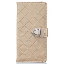 Metal Button Grid Pattern PU Leather Wallet Case for Huawei Ascend P8 Lite - Champagne