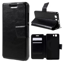 For Doogee X5 Crazy Horse Leather Case with Stand - Black
