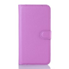 Litchi Skin Leather Wallet Case for DOOGEE X5 / X5 Pro - Purple